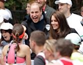 """<p>So remember the London Marathon training picture? He made an <em>even funnier </em>face when it came time to hand out water during the actual event. Kate, <a href=""""https://www.goodhousekeeping.com/life/g20734531/kate-middleton-royal-wedding-mom/"""" rel=""""nofollow noopener"""" target=""""_blank"""" data-ylk=""""slk:being the cool mom that she is"""" class=""""link rapid-noclick-resp"""">being the cool mom that she is</a>, is totally keeping her chill and politely asking runners if they want something to drink. Her husband, as you can see, is on a whole different level of excitement.</p>"""