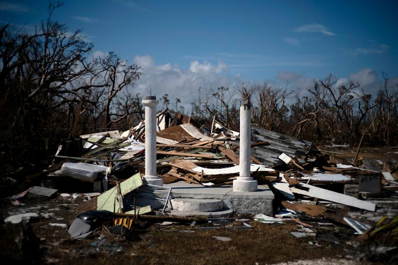 The portico of a house destroyed by Hurricane Dorian is the only thing that remains of the structure, destroyed by Hurricane Dorian, in High Rock, Grand Bahama, Bahamas, Sept. 5, 2019. | Ramon Espinosa—AP