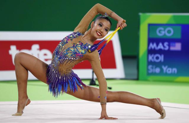 Rhythmic Gymnastics - Gold Coast 2018 Commonwealth Games - Individual Clubs Final - Coomera Indoor Sports Centre - Gold Coast, Australia - April 13, 2018. Koi Sie Yan of Malaysia. REUTERS/David Gray