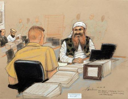 Khalid Sheikh Mohammedis pictured on the third day of pre-trial hearings in the 9/11 war crimes prosecution as depicted in this Pentagon-approved courtroom sketch at the U.S. Naval Base Guantanamo Bay