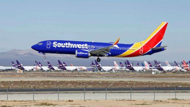 PHOTO: A Southwest Airlines Boeing 737 Max aircraft lands at the Southern California Logistics Airport in Victorville, Calif., March 23, 2019. (Matt Hartman/AP, FILE)