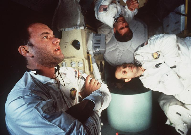 "FILE--Tom Hanks, left, Kevin Bacon, center, and Bill Paxton appear in character in Universal Pictures ""Apollo 13."" The film was nominated for Best Picture in the 68th Annual Academy Awards announced in Los Angeles Tuesday, Feb. 13, 1996. (AP Photo/files/Universal Pictures)"