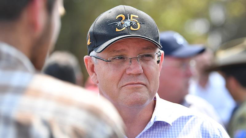 Prime Minister Scott Morrison is pictured visiting Kangaroo Island following the devastating bushfires. Source: AAP