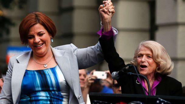 PHOTO: New York City Council Speaker Christine Quinn, left, and Edie Windsor, plaintiff in United States v. Windsor, join their supporters as they gather to celebrate two decisions by the U.S. Supreme Court during a rally in New York, June 26, 2013. (Jason DeCrow/AP)