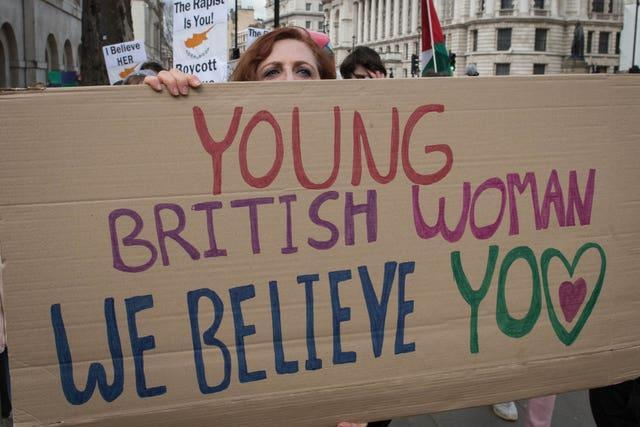 A protest outside Downing Street in central London in support of the British woman