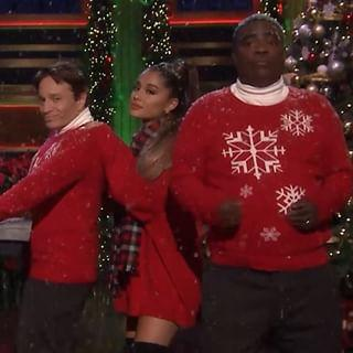 e62d94a1f Ariana Grande Goes Pantless in Christmas Sweater   Thigh-Highs on ...