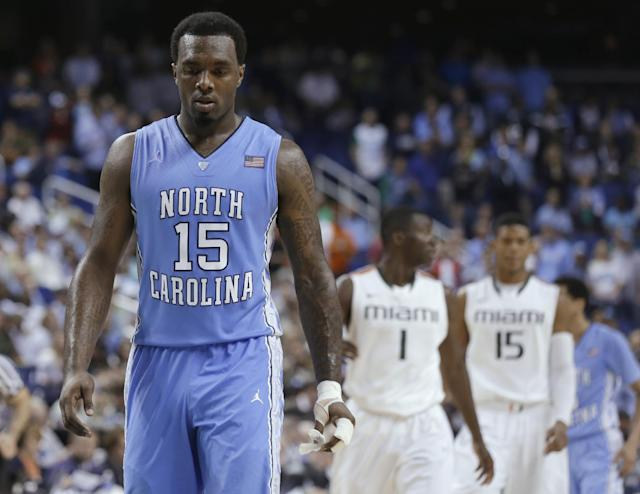FILE - In this March 17, 2013, file photo, North Carolina's P.J. Hairston (15) walks downcourt during NCAA college basketball game against Miami in the championship of the Atlantic Coast Conference tournament in Greensboro, N.C. Hairston says he will play in the NBA Development League. In a statement, Hairston said he submitted paperwork to play in the league Friday afternoon, Jan. 10, 2014. The Tar Heels' leading scorer never played this season after the school decided last month not to seek his reinstatement for NCAA rules violations.(AP Photo/Gerry Broome, File)