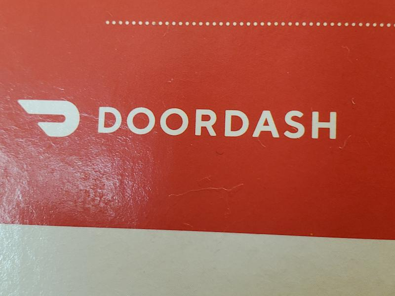 Close-up of logo for food delivery service Doordash, August 30, 2019. (Photo by Smith Collection/Gado/Getty Images)