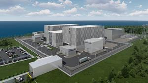 Illustration of the IMSR400 plant in the configuration proposed for the Darlington site.  The IMSR400 has the capacity to generate 390 MW (net) of clean, reliable and carbon-free electrical power on a 7 hectare site.