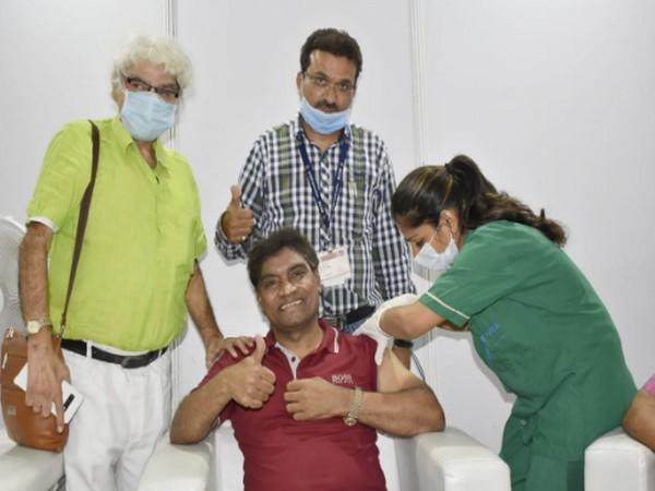 Johnny Lever at Mumbai's BKC Vaccination Centre