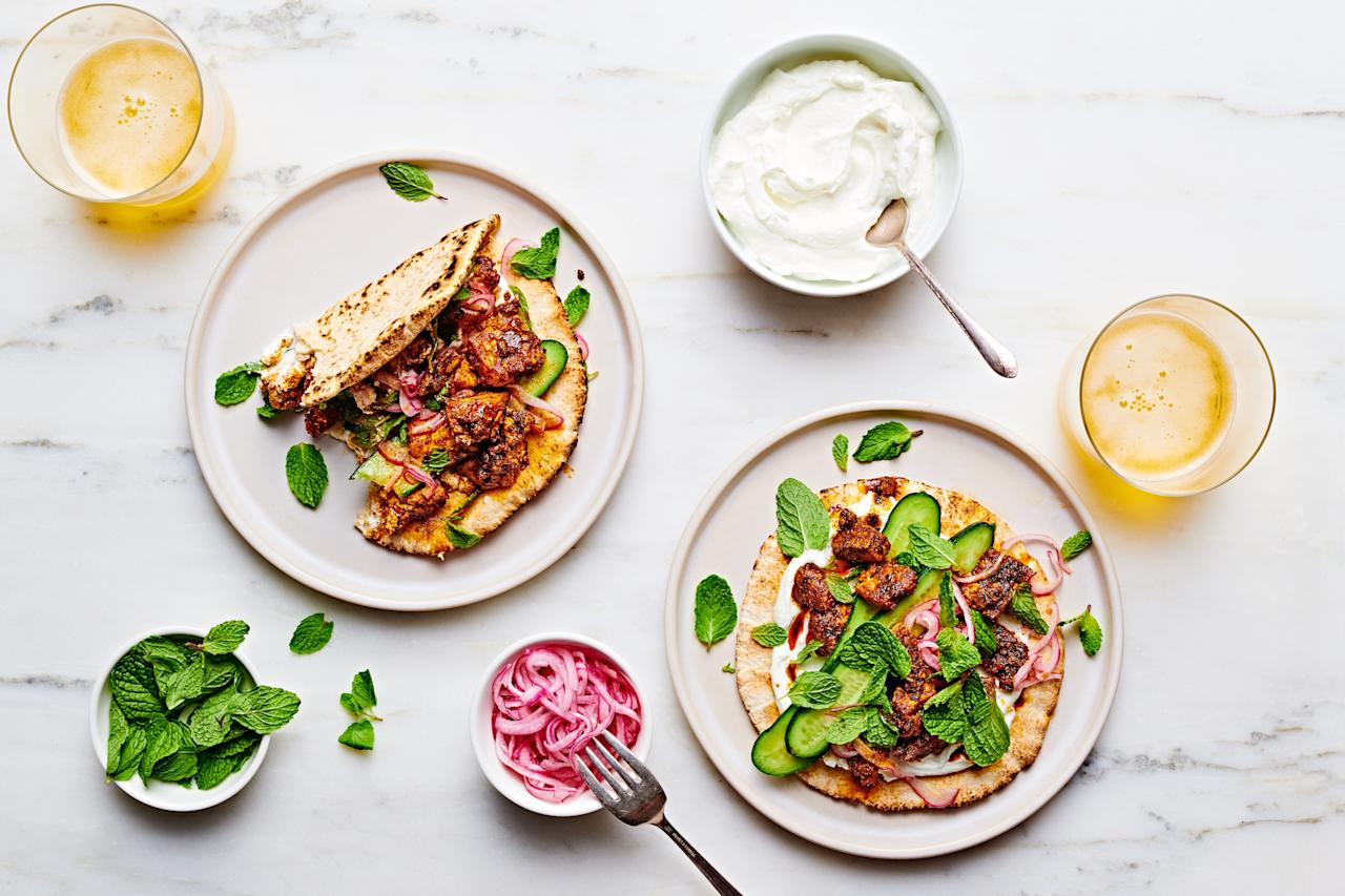 """Squeezing the tofu to get rid of as much water as possible primes it to soak up oil, spices, and, in a word, flavor. <a href=""""https://www.epicurious.com/recipes/food/views/shawarma-spiced-tofu-pita-wraps?mbid=synd_yahoo_rss"""">See recipe.</a>"""