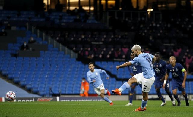 Sergio Aguero equalised from the spot