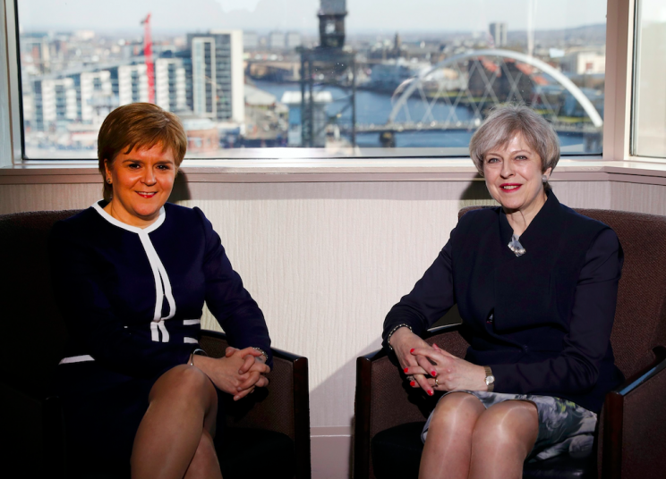 Nicola Sturgeon and Theresa May met in Glasgow on Monday (Picture: Rex)