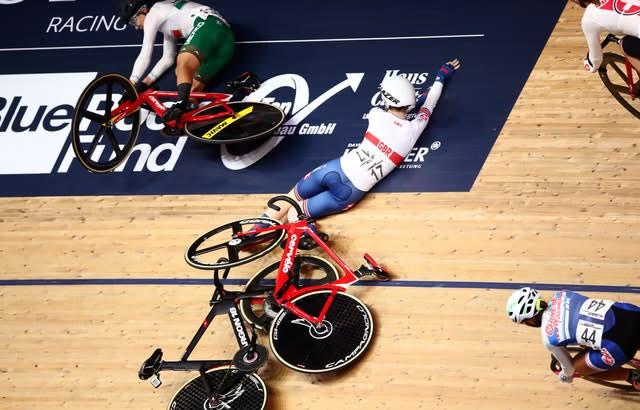 Laura Kenny suffered a nasty fall at the World Championships in Berlin (Tim Goode/PA)