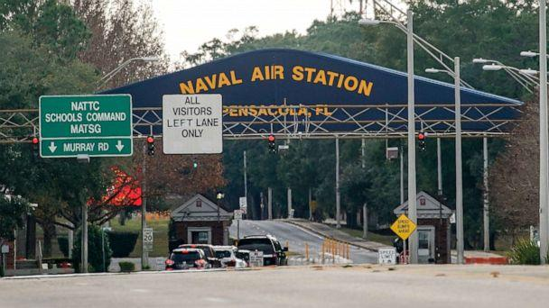 PHOTO:The Pensacola Naval Air Station main gate following a shooting on Dec. 06, 2019, in Pensacola, Fla. (Josh Brasted/Getty Images)