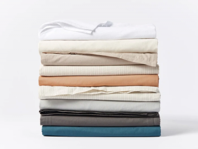 coyuchi crinkled percale queen sheets