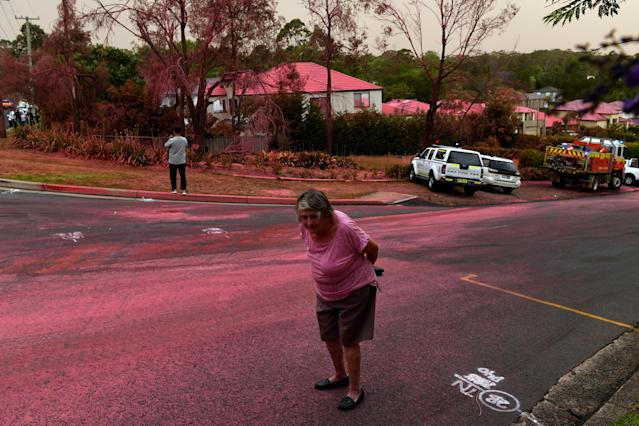 SYDNEY, AUSTRALIA - NOVEMBER 12: A resident walks infront of South Turramurra homes which were bombed by fire-retardant during NSW RFS firefighting efforts on November 12, 2019 in Sydney, Australia. More than 60 fires are burning across NSW with 200 homes and sheds destroyed and three people confirmed dead. Catastrophic fire danger - the highest possible level of bushfire danger - has been forecast for the greater Sydney, Illawarra and Hunter areas which includes the Blue Mountains and the Central Coast. NSW Premier Gladys Berejiklian declared a state of emergency on Monday, giving giving emergency powers to Rural Fire Service Commissioner Shane Fitzsimmons and prohibiting fires across the state. (Photo by Sam Mooy/Getty Images)