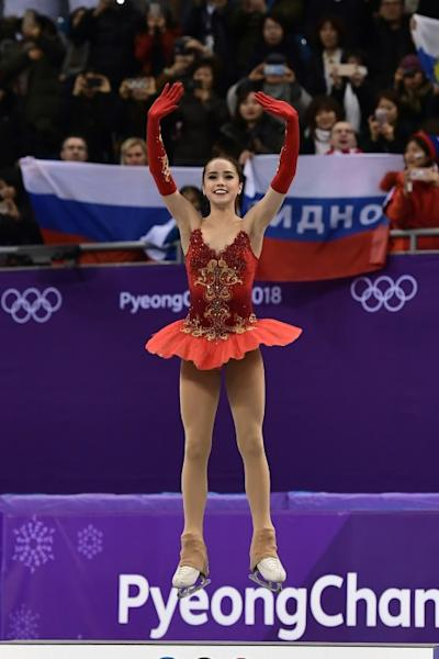 Gold medallist Alina Zagitova of the Olympic Athletes from Russia celebrates here women's figure skating title during the Pyeongchang 2018 Winter Olympic Games on Friday