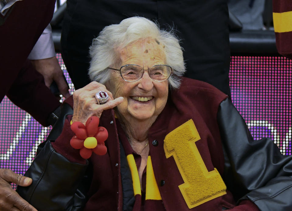 Loyola University of Chicago's Sister Jean shows off the NCAA Final Four ring she received before a game between Loyola of Chicago and Nevada, in Chicago on Nov. 27, 2018. (Photo: Matt Marton/AP)