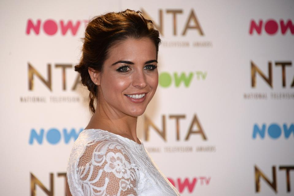 LONDON, ENGLAND - JANUARY 25:  Gemma Atkinson poses in the winners room at the National Television Awards at The O2 Arena on January 25, 2017 in London, England.  (Photo by Anthony Harvey/Getty Images)