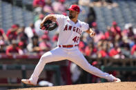 Los Angeles Angels starting pitcher Patrick Sandoval (43) throws during the fourth inning of a baseball game against the Baltimore Orioles Sunday, July 4, 2021, in Anaheim, Calif. (AP Photo/Ashley Landis)