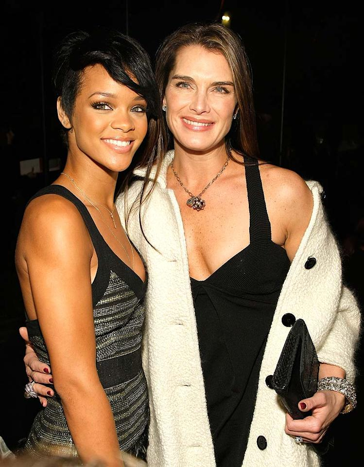 """Barbadian beauty and Grammy nominee Rihanna cozies up with """"Lipstick Jungle"""" star Brooke Shields backstage at the Proenza Schouler show during Mercedes-Benz Fashion Week in NYC. Jemal Countess/<a href=""""http://www.wireimage.com"""" target=""""new"""">WireImage.com</a> - February 4, 2008"""