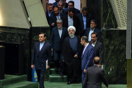 Iranian President Hassan Rouhani attends a parliamentary session in Tehran, Iran August 28, 2018. President Official Website//Handout via REUTERS