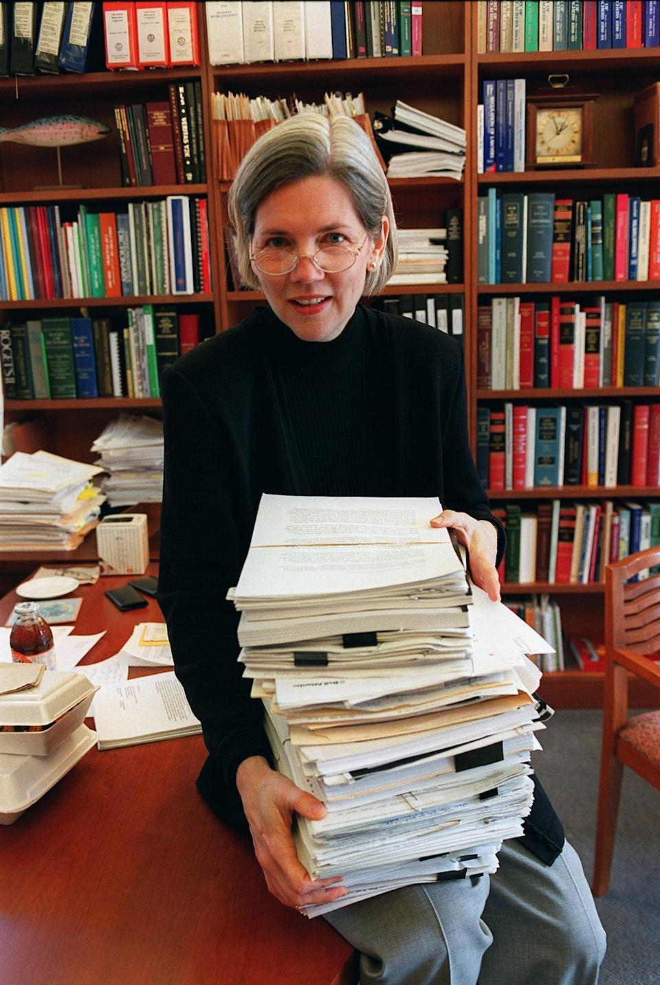 Warren, pictured in 2001 when she was a Harvard Law School professor, was a leading opponent of the bankruptcy bills championed by Biden. (Photo: Boston Globe via Getty Images)