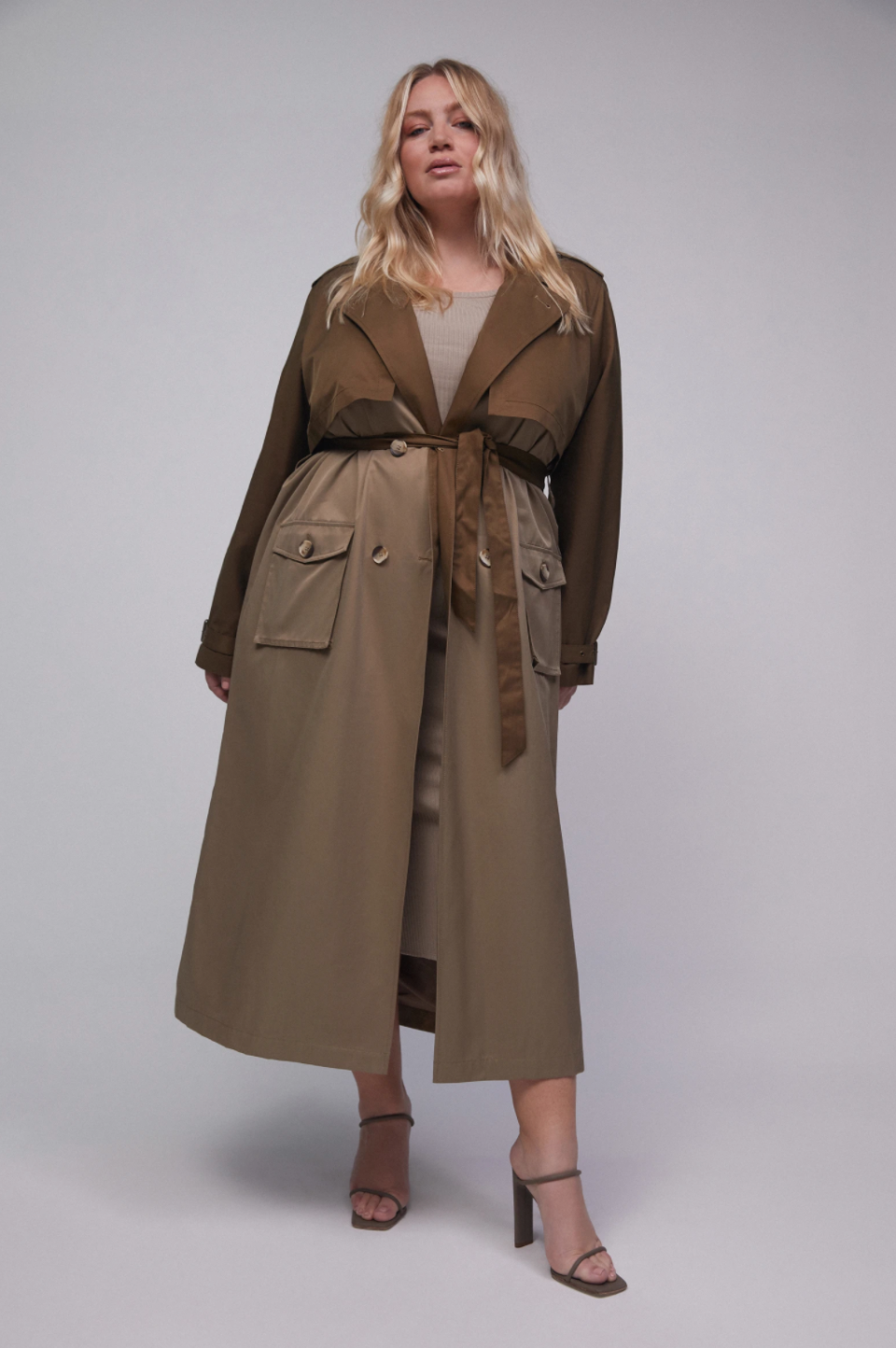 Good American Fabric Mix Trench Coat (Photo via Good American)