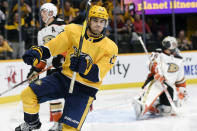 Nashville Predators center Rocco Grimaldi (23) celebrates his goal against the Anaheim Ducks during the second period of an NHL hockey game Tuesday, Oct. 22, 2019, in Nashville, Tenn. (AP Photo/Mark Zaleski)