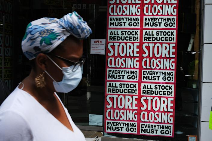 A store advertises a sale on July 7 in Brooklyn, New York. The economic fallout from the coronavirus pandemic has been dire. More Americans are currently unemployed than at any point since World War II. (Photo: Spencer Platt via Getty Images)