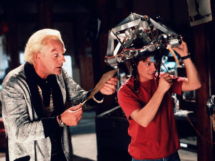 Michael J Fox and Christopher Loyd in 'Back to the Future'Rex Features
