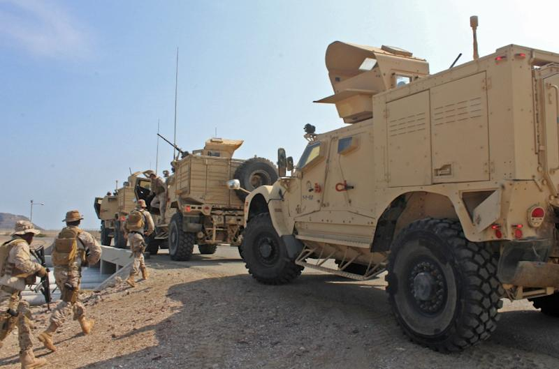 Soldiers loyal to the Saudi-led coalition fighting on the side of the government in Yemen are seen in Aden on October 29, 2018