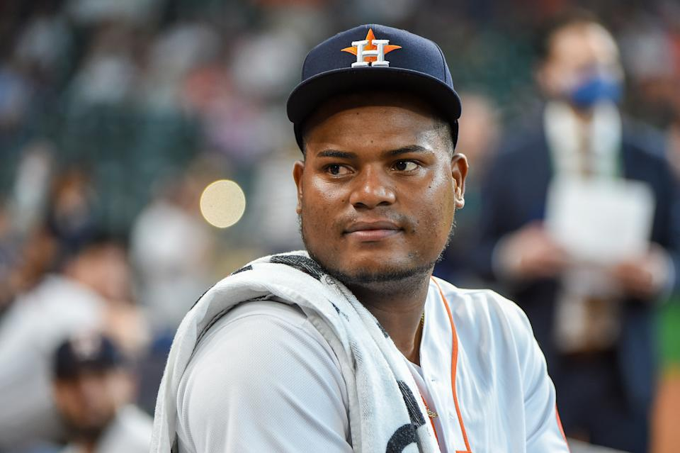 HOUSTON, TX - OCTOBER 07: Houston Astros starting pitcher Framber Valdez (59) looks from the dugout before the baseball game between the Chicago White Sox and Houston Astros at Minute Maid Park on October 7, 2021 in Houston, Texas. (Photo by Ken Murray/Icon Sportswire via Getty Images)