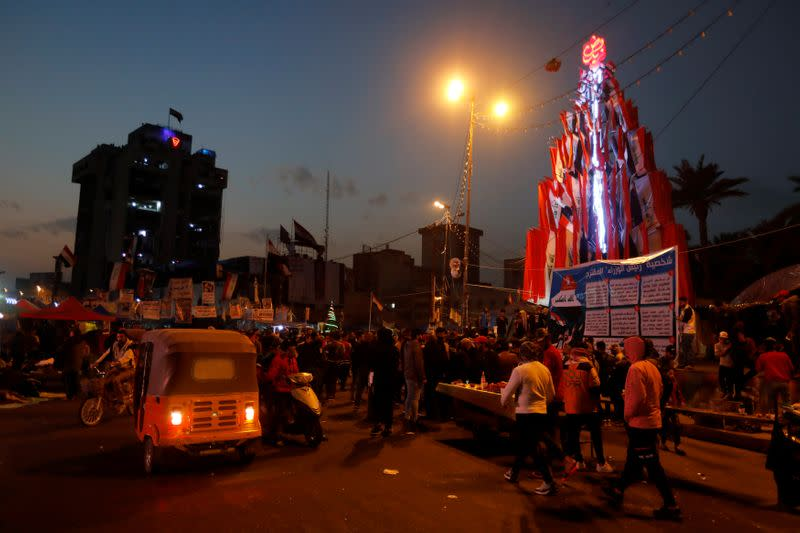 Iraqi demonstrators gather at Tahrir Square during ongoing anti-government protests in Baghdad