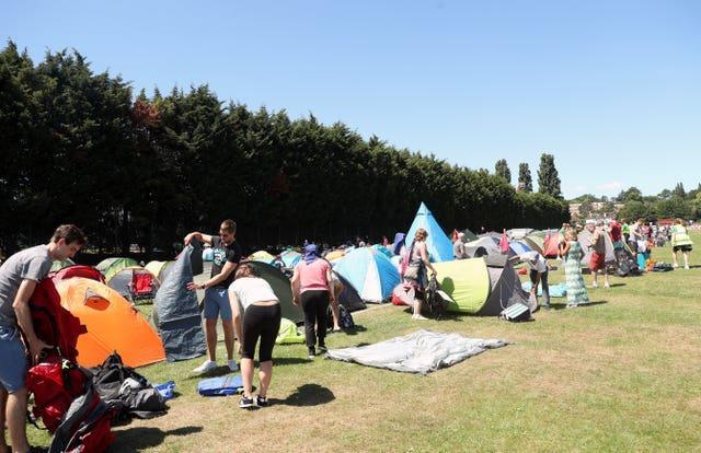 Tennis fans will not be able to camp out overnight at Wimbledon this year