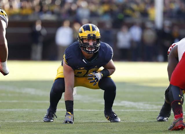 Michigan TE Jake Butt projects to be solid in the NFL if he can stay healthy. (AP)