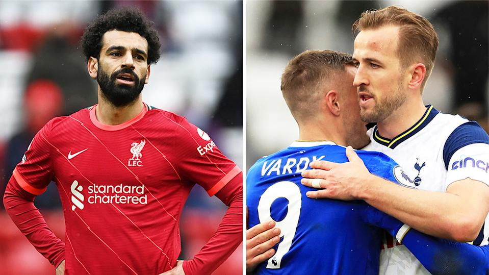 Harry Kane (pictured right) hugging Jamie Vardy and Mohamed Salah (pictured left) during the Liverpool match.