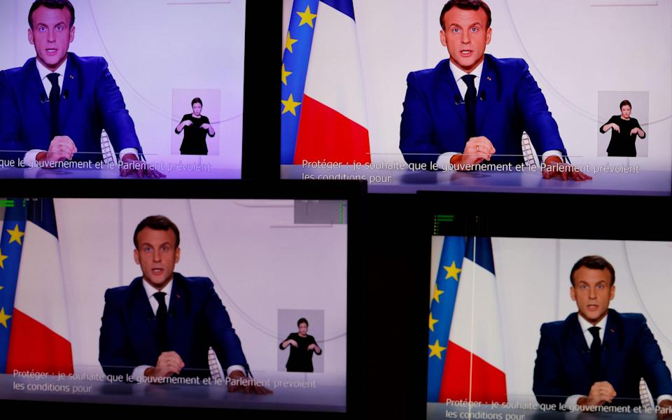 This screen grab made on November 24, 2020 shows French President Emmanuel Macron speaking during a televised address to the Nation on the Covid-19 pandemic  - Thomas Coex/AFP