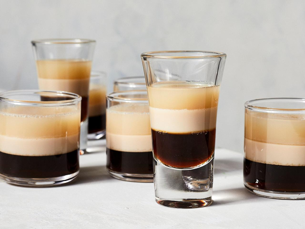 "<p>If you're looking for an easy way to get the St. Patrick's Day party started, look no further than these Irish coffee inspired Jell-O shots, featuring layers of Kahlúa-spiked coffee, Baileys Irish cream, and Irish whiskey. We also included a bit of pecan liqueur (because it's delicious), but feel free to replace it with an additional 1/4-cup Baileys. </p> <p><a href=""https://www.myrecipes.com/recipe/Irish-coffee-jello-shots"">Irish Coffee Jell-O Shots Recipe</a></p>"