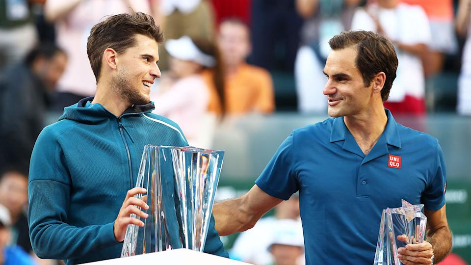 Pictured here, 2019 Indian Wells champion Dominic Thiem and runner-up Roger Federer.