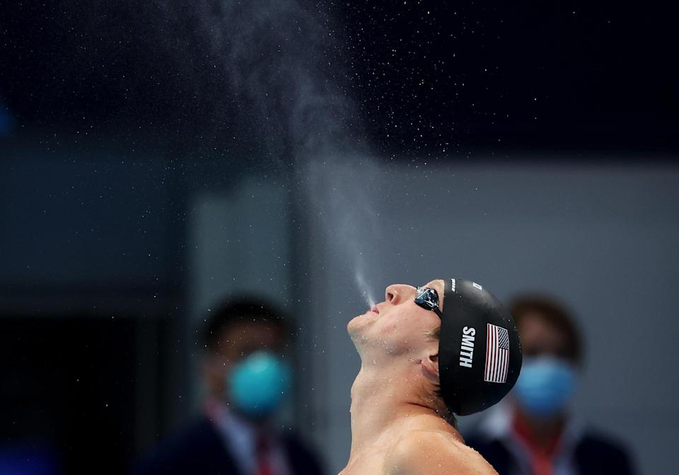 <p>Kieran Smith of the United States reacts after competing in the Men's 200m freestyle semifinal on July 26.</p>