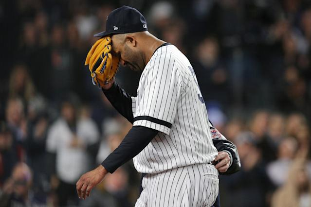 New York Yankees pitcher CC Sabathia's career is likely over after a shoulder injury in ALCS Game 4. (Brad Penner/USA TODAY Sports)