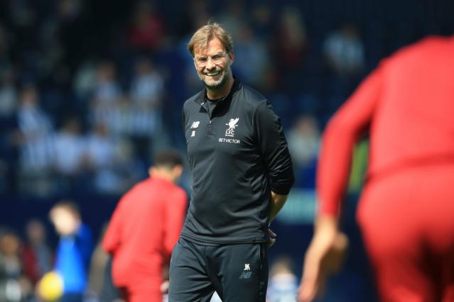 Jurgen Klopp before Liverpool's game at West Brom, pacing around what he would later deem to be an unacceptably dry pitch. (Getty)