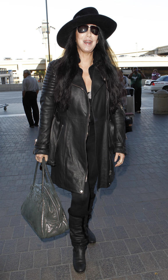 Cher catching a flight at LAX.