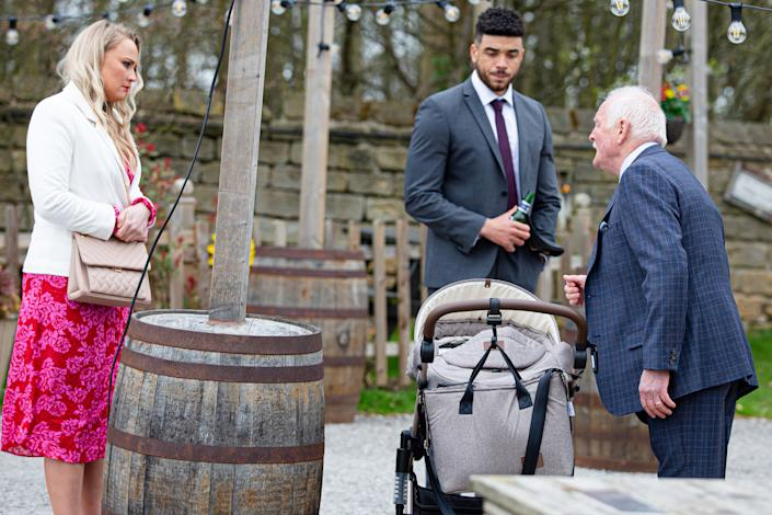 FROM ITV  STRICT EMBARGO  Print media - No Use Before Tuesday 4th May 2021 Online Media - No Use Before 0700hrs Tuesday 4th May  2021  Emmerdale - Ep 9046  Thursday 13th May 2021 - 1st  At Frankie's christening, tensions mount between the Dingles and Pollard and Tracy Metcalfe [AMY WALSH], having had enough of the day's stresses and tensions, asks Pollard [CHRIS CHITTELL] to take her home.  Picture contact David.crook@itv.com   Photographer - Mark Bruce  This photograph is (C) ITV Plc and can only be reproduced for editorial purposes directly in connection with the programme or event mentioned above, or ITV plc. Once made available by ITV plc Picture Desk, this photograph can be reproduced once only up until the transmission [TX] date and no reproduction fee will be charged. Any subsequent usage may incur a fee. This photograph must not be manipulated [excluding basic cropping] in a manner which alters the visual appearance of the person photographed deemed detrimental or inappropriate by ITV plc Picture Desk. This photograph must not be syndicated to any other company, publication or website, or permanently archived, without the express written permission of ITV Picture Desk. Full Terms and conditions are available on  www.itv.com/presscentre/itvpictures/terms