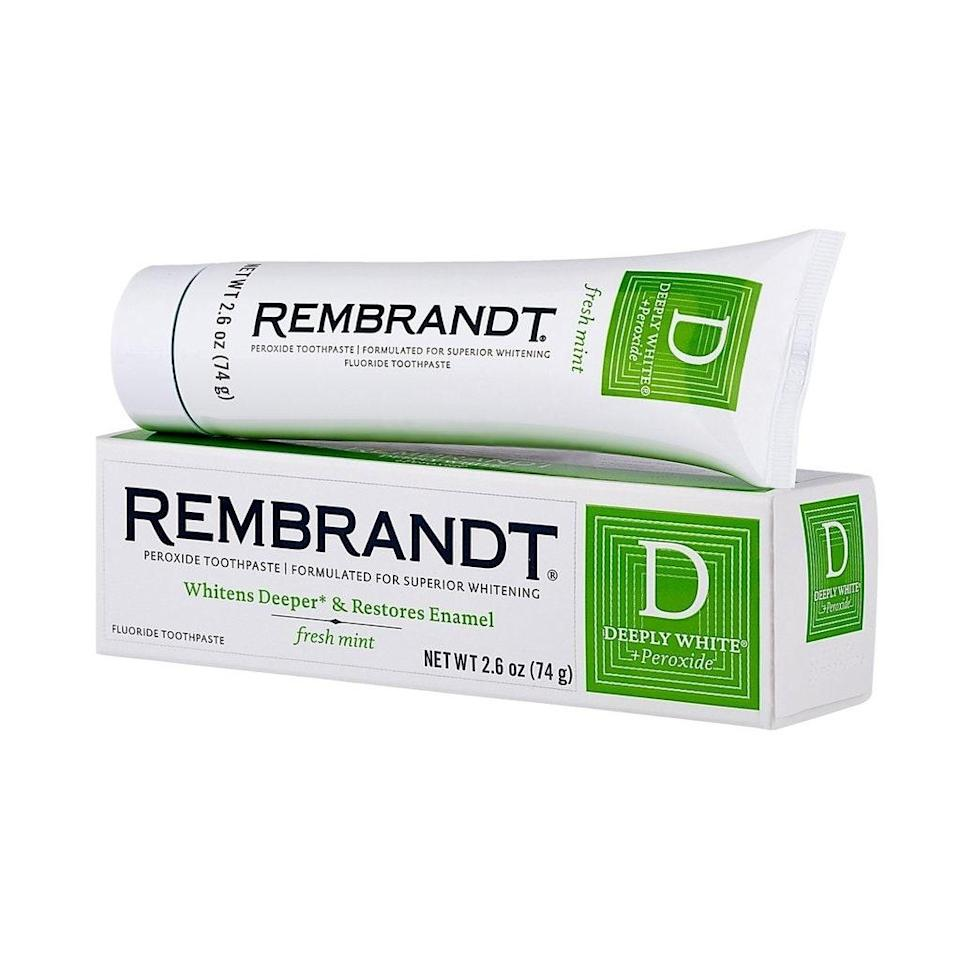 If you're pro-peroxide, you'll love Rembrandt's Deeply White + Peroxide Toothpaste, which features a rapid-release version of the ingredient, plus sodium fluoride to keep enamel strong.
