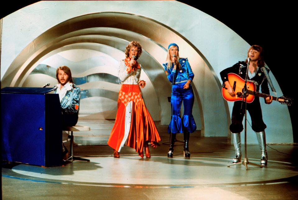 Abba performs during the the Eurovision Song Contest 1974 on February 09, 1974 in Brighton with their song Waterloo. (OLLE LINDEBORG/AFP via Getty Images)