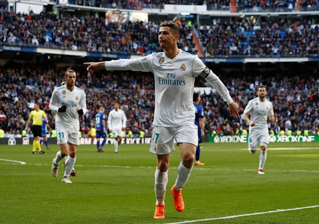 Soccer Football - La Liga Santander - Real Madrid vs Deportivo Alaves - Santiago Bernabeu, Madrid, Spain - February 24, 2018 Real Madrid's Cristiano Ronaldo celebrates scoring their first goal REUTERS/Juan Medina