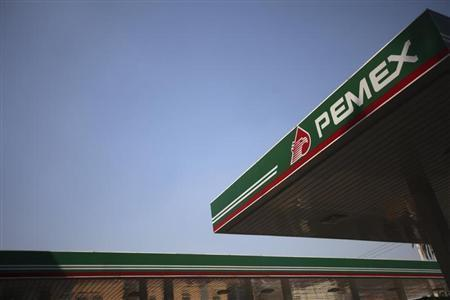 The logo of Mexican petroleum company Pemex is seen on a tank gas at gas station in Mexico City